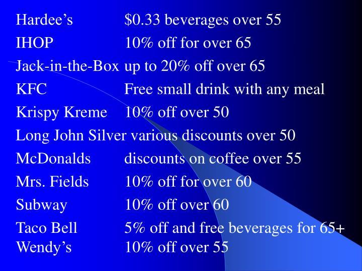 Hardee's$0.33 beverages over 55