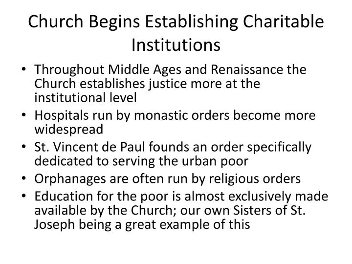 Church Begins Establishing Charitable Institutions
