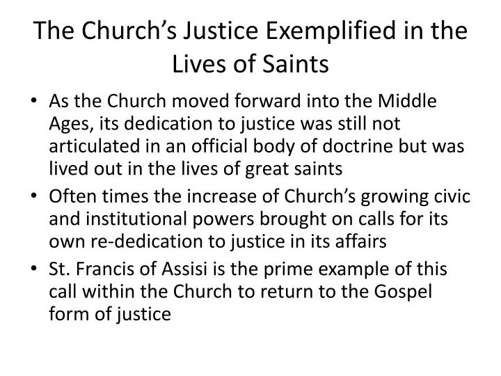 The Church's Justice Exemplified in the Lives of Saints
