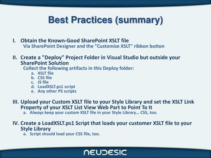 Best Practices (summary)