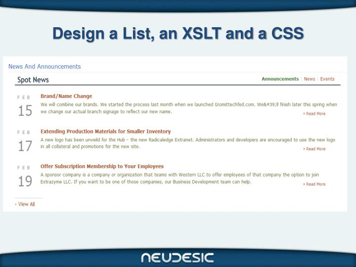 Design a List, an XSLT and a CSS