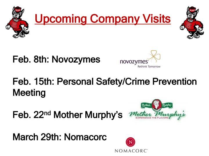 Upcoming company visits