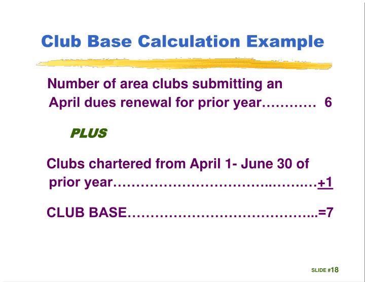 Club Base Calculation Example
