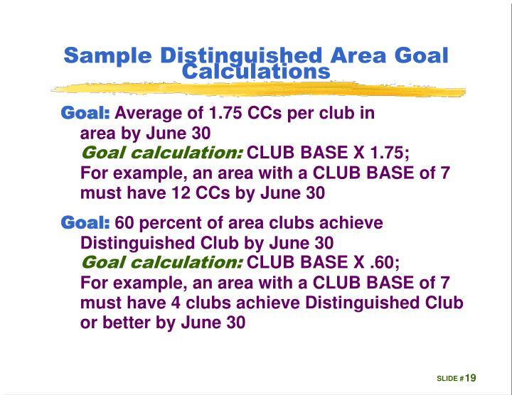 Sample Distinguished Area Goal Calculations