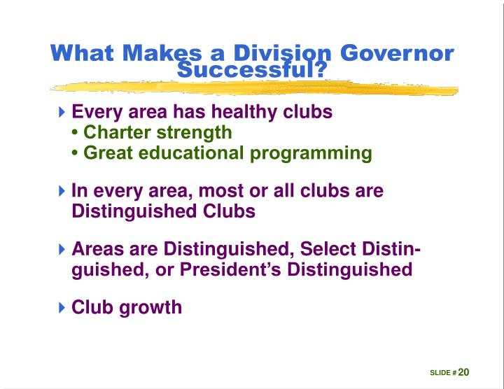What Makes a Division Governor Successful?