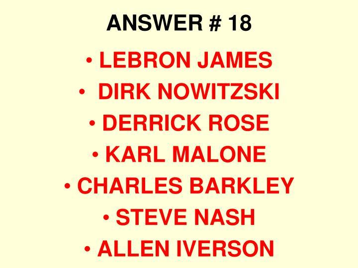 ANSWER # 18