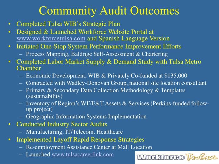 Community audit outcomes