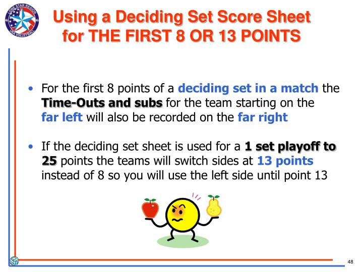 Using a Deciding Set Score Sheet