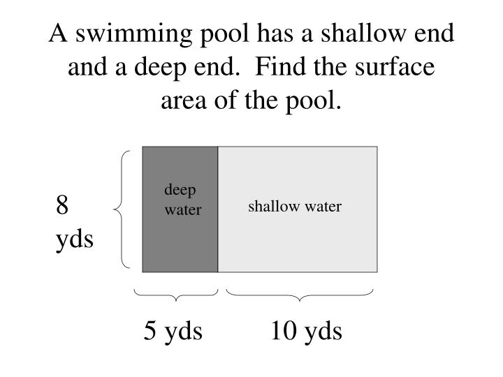 A swimming pool has a shallow end and a deep end.  Find the surface area of the pool.