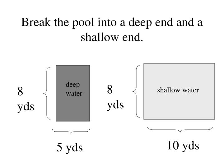 Break the pool into a deep end and a shallow end.