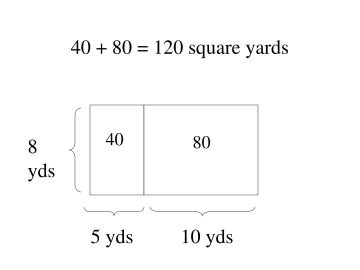 40 + 80 = 120 square yards
