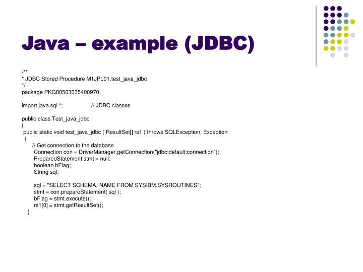Java – example (JDBC)
