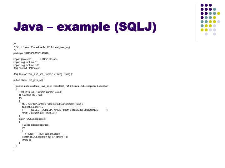 Java – example (SQLJ)
