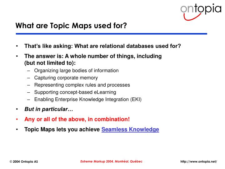 What are Topic Maps used for?