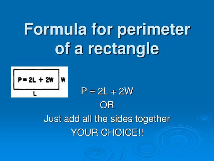 Formula for perimeter of a rectangle