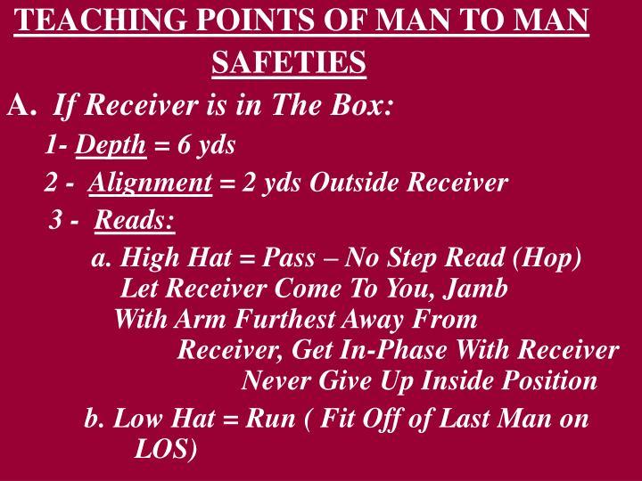TEACHING POINTS OF MAN TO MAN
