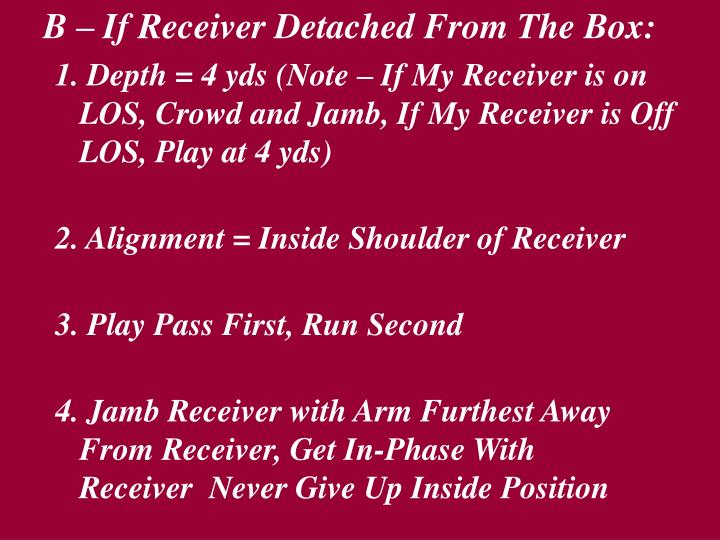 B – If Receiver Detached From The Box: