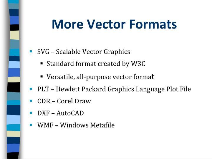 More Vector Formats