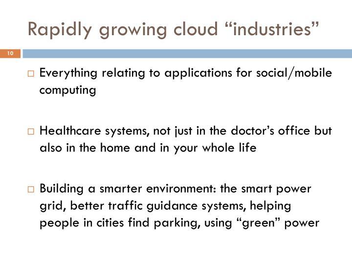 "Rapidly growing cloud ""industries"""