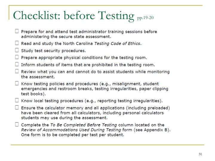 Checklist: before Testing