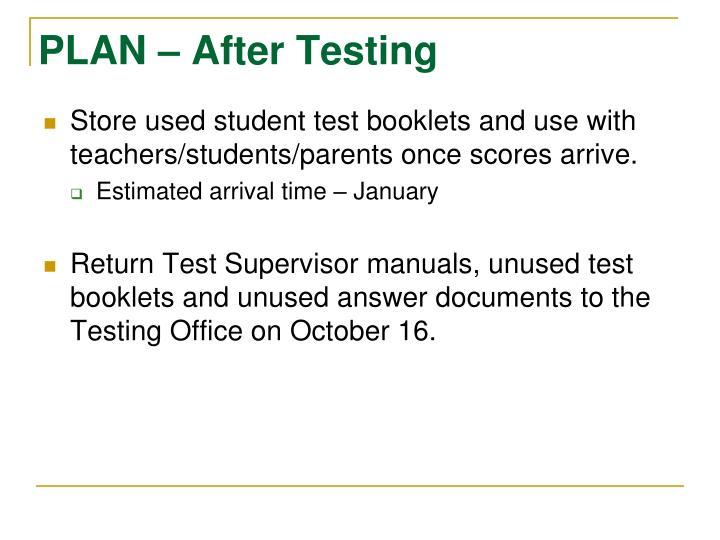 PLAN – After Testing