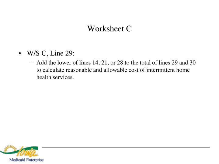 Worksheet C