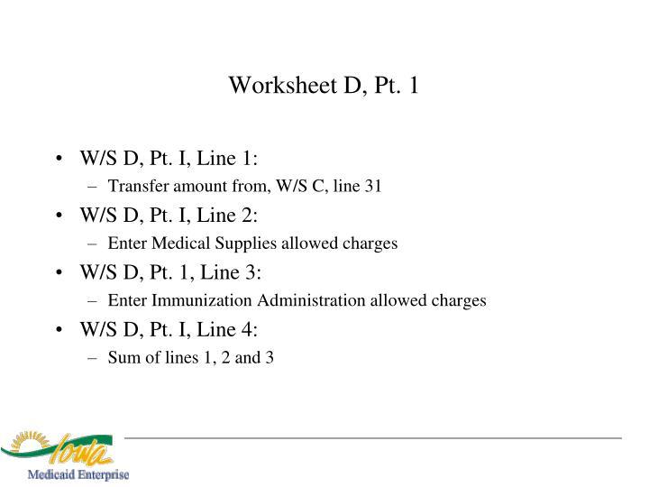 Worksheet D, Pt. 1