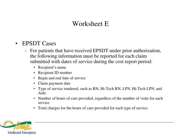 Worksheet E