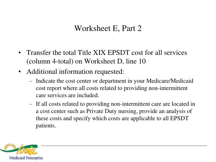 Worksheet E, Part 2