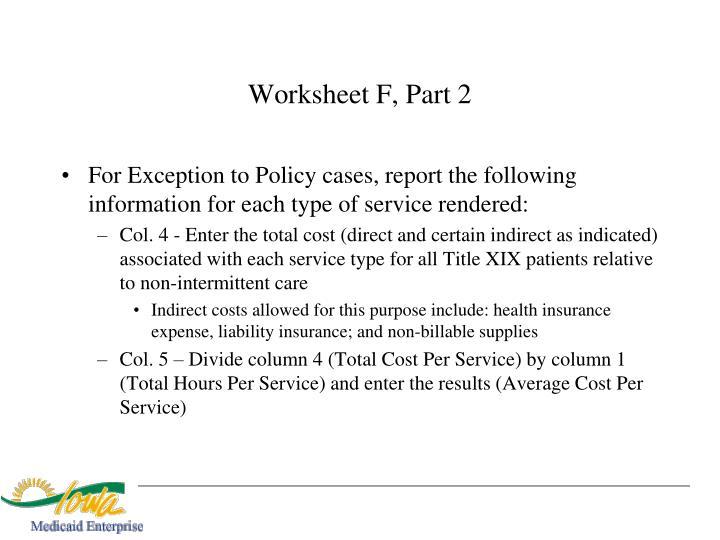 Worksheet F, Part 2