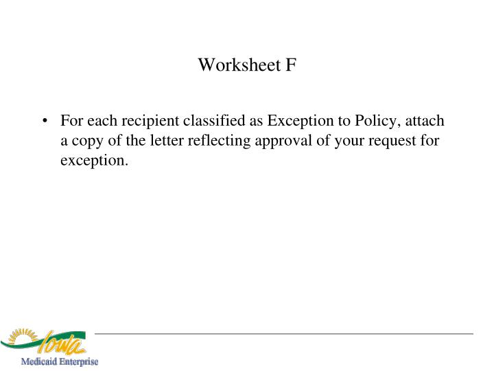Worksheet F
