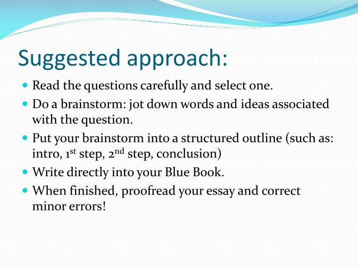 Suggested approach