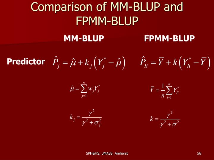 Comparison of MM-BLUP and FPMM-BLUP