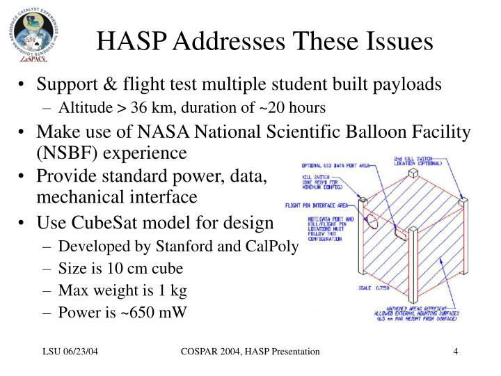 HASP Addresses These Issues