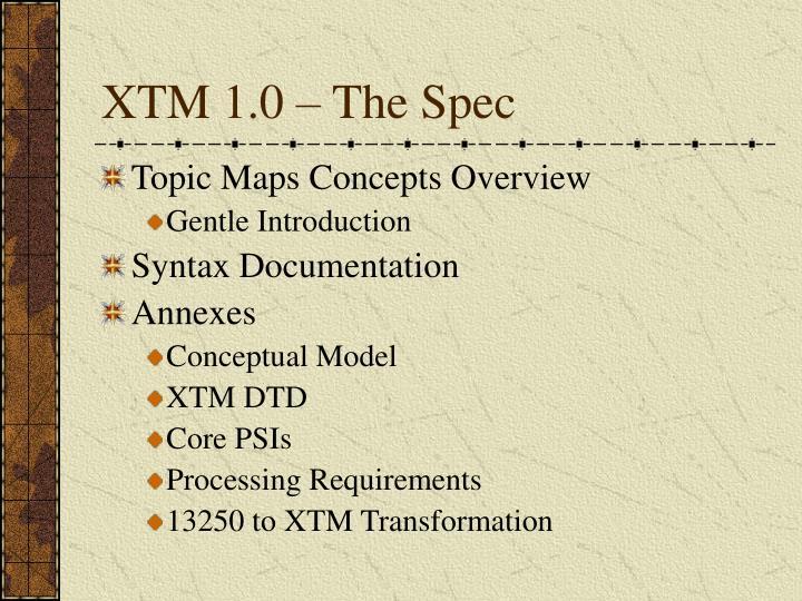 XTM 1.0 – The Spec
