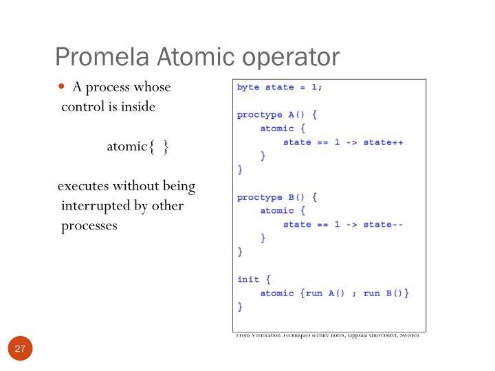Promela Atomic operator