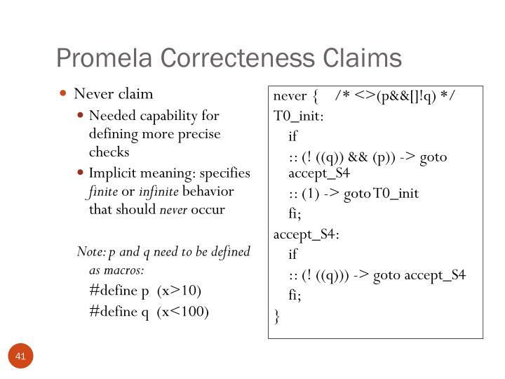Promela Correcteness Claims