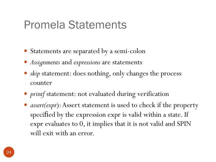 Promela Statements