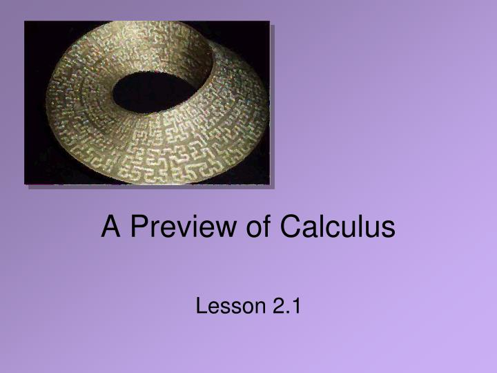 a preview of calculus n.
