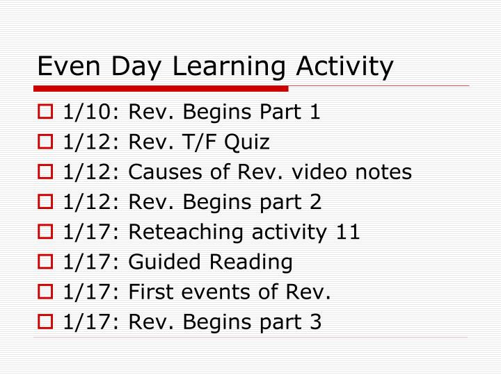 Even Day Learning Activity