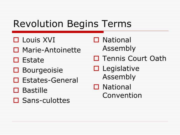 Revolution Begins Terms