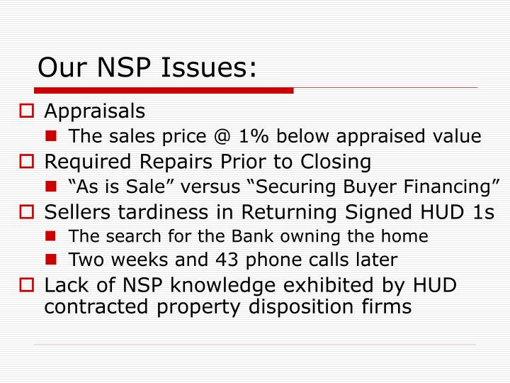 Our NSP Issues: