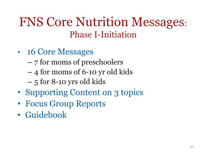 FNS Core Nutrition Messages
