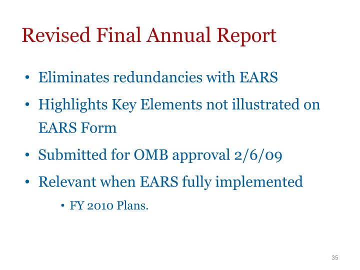 Revised Final Annual Report