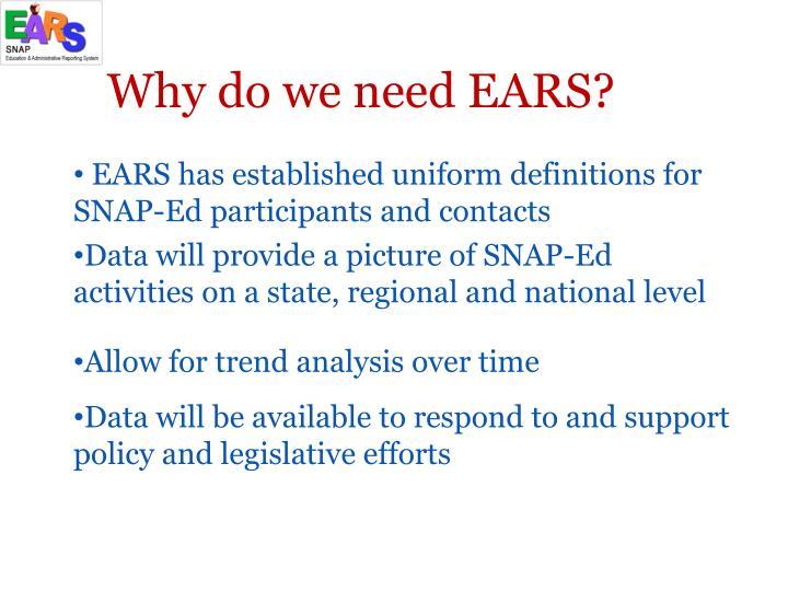 Why do we need EARS?