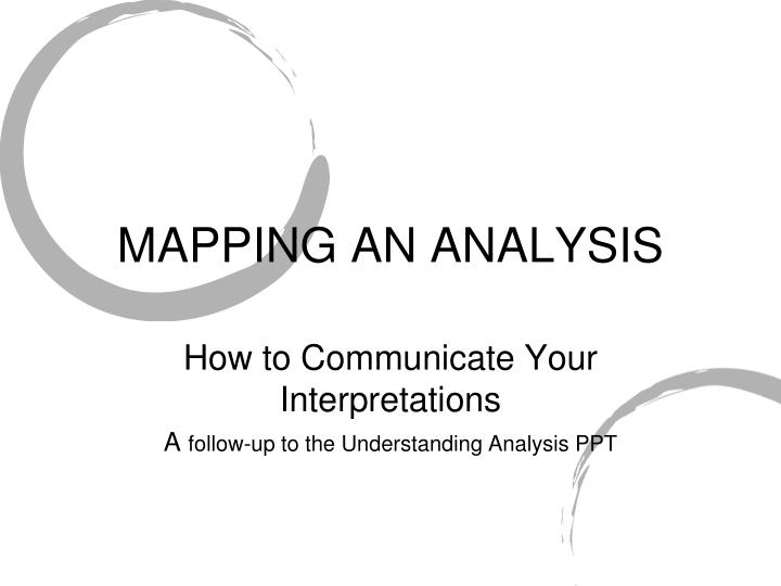 Mapping an analysis