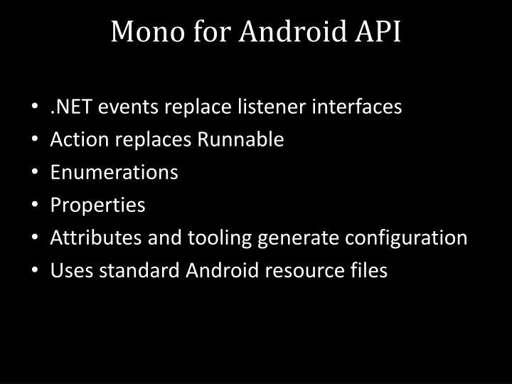 Mono for Android API