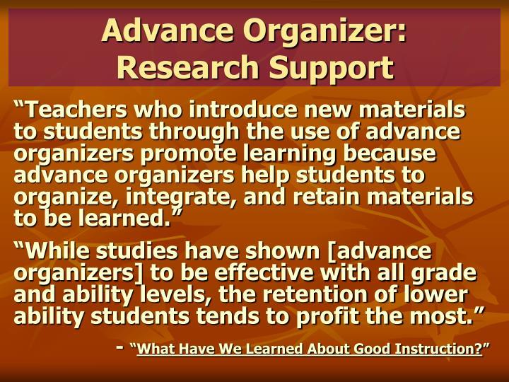 Advance Organizer: