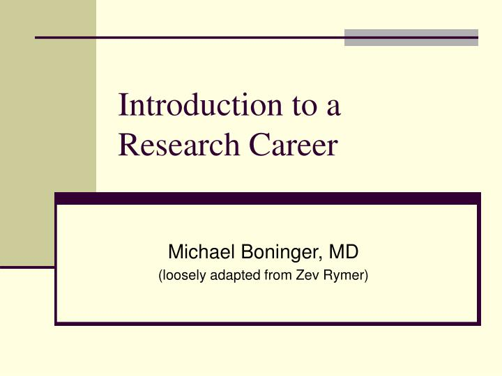 introduction to a research career n.