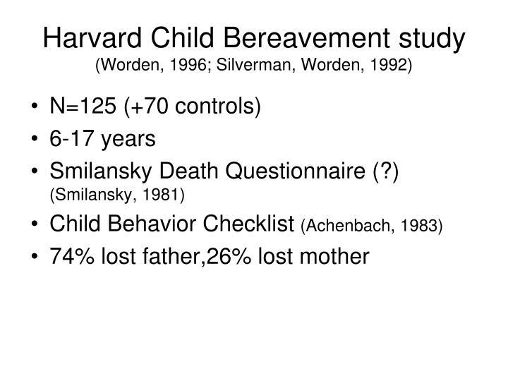 Harvard Child Bereavement study